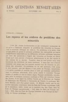 Les Questions Minoritaires. An.4, No 4 (Décembre 1931)