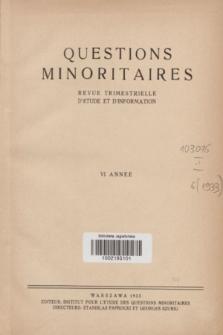 Les Questions Minoritaires : revue trimestrielle d'étude et d'information. An.6, Index des articles publiés en 1933 (1933)
