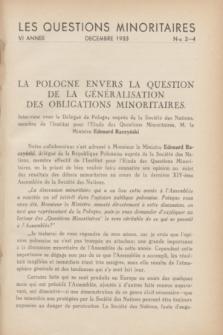 Les Questions Minoritaires. An.6, No 3/4 (Décembre 1933)