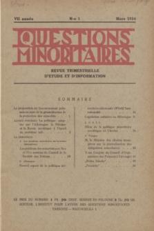 Les Questions Minoritaires : revue trimestrielle d'étude et d'information. An.7, No 1 (Mars 1934)