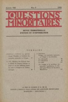 Les Questions Minoritaires : revue trimestrielle d'étude et d'information. An.8, No 3 (1935)