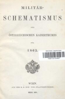 Militär-Schematismus des Österreichischen Kaiserthumes für 1865