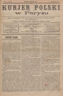 Kurjer Polski w Paryżu : dwutygodnik polityczny- literacki- społeczny : organ patrjotyczny polski. R.4, Nº 16 (15 sierpnia 1884)