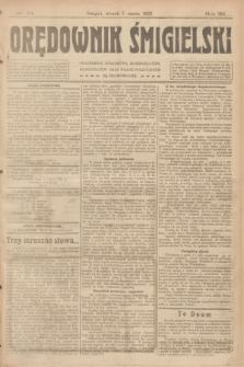 Orędownik Śmigielski. R.32, nr 54 (7 marca 1922)