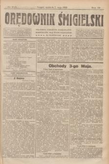 Orędownik Śmigielski. R.32, nr 105 (7 maja 1922)