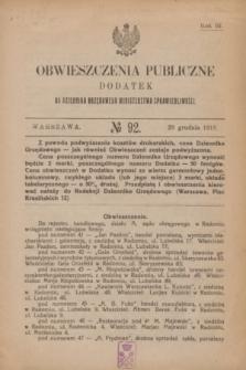 Obwieszczenia Publiczne : dodatek do Dziennika Urzędowego Ministerstwa Sprawiedliwości. R.3, № 92 (29 grudnia 1919)