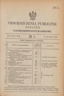 Obwieszczenia Publiczne : dodatek do Dziennika Urzędowego Ministerstwa Sprawiedliwości. R.5, № 5 (19 stycznia 1921)