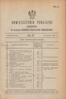 Obwieszczenia Publiczne : dodatek do Dziennika Urzędowego Ministerstwa Sprawiedliwości. R.5, № 4 A (15 stycznia 1921)