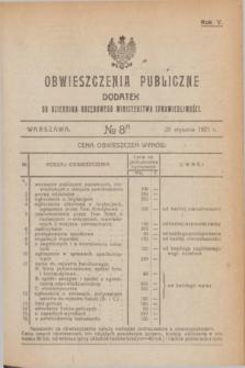 Obwieszczenia Publiczne : dodatek do Dziennika Urzędowego Ministerstwa Sprawiedliwości. R.5, № 8 A (29 stycznia 1921)