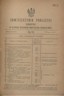Obwieszczenia Publiczne : dodatek do Dziennika Urzędowego Ministerstwa Sprawiedliwości. R.5, № 51 (6 lipca 1921)