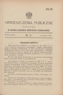 Obwieszczenia Publiczne : dodatek do Dziennika Urzędowego Ministerstwa Sprawiedliwości. R.15, № 3 (10 stycznia 1931)