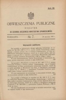 Obwieszczenia Publiczne : dodatek do Dziennika Urzędowego Ministerstwa Sprawiedliwości. R.15, № 7 (24 stycznia 1931)