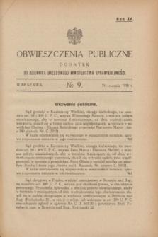 Obwieszczenia Publiczne : dodatek do Dziennika Urzędowego Ministerstwa Sprawiedliwości. R.15, № 9 (31 stycznia 1931)