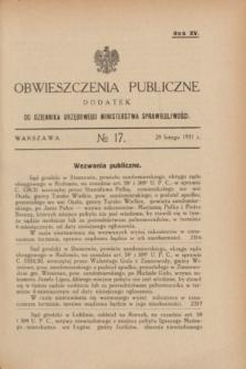 Obwieszczenia Publiczne : dodatek do Dziennika Urzędowego Ministerstwa Sprawiedliwości. R.15, № 17 (28 lutego 1931)