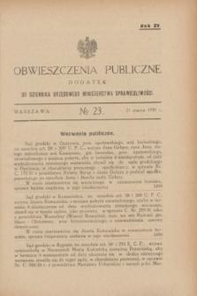 Obwieszczenia Publiczne : dodatek do Dziennika Urzędowego Ministerstwa Sprawiedliwości. R.15, № 23 (21 marca 1931)