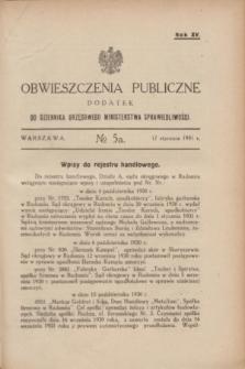 Obwieszczenia Publiczne : dodatek do Dziennika Urzędowego Ministerstwa Sprawiedliwości. R.15, № 5 A (17 stycznia 1931)