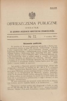 Obwieszczenia Publiczne : dodatek do Dziennika Urzędowego Ministerstwa Sprawiedliwości. R.15, № 72 (2 września 1931)