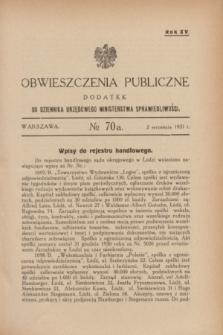 Obwieszczenia Publiczne : dodatek do Dziennika Urzędowego Ministerstwa Sprawiedliwości. R.15, № 70 A (2 września 1931)
