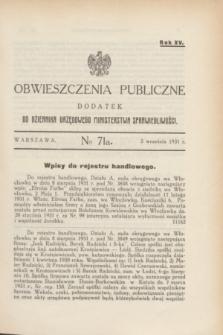Obwieszczenia Publiczne : dodatek do Dziennika Urzędowego Ministerstwa Sprawiedliwości. R.15, № 71 A (5 września 1931)