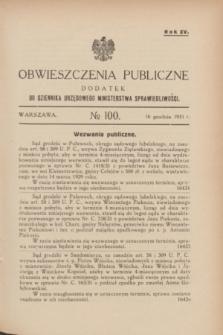 Obwieszczenia Publiczne : dodatek do Dziennika Urzędowego Ministerstwa Sprawiedliwości. R.15, № 100 (16 grudnia 1931)