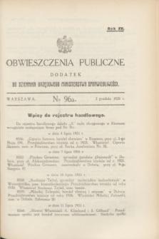 Obwieszczenia Publiczne : dodatek do Dziennika Urzędowego Ministerstwa Sprawiedliwości. R.15, № 96 A (2 grudnia 1931)