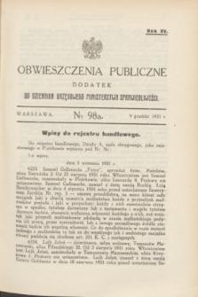 Obwieszczenia Publiczne : dodatek do Dziennika Urzędowego Ministerstwa Sprawiedliwości. R.15, № 98 A (9 grudnia 1931)