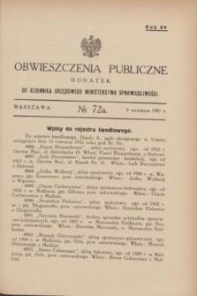 Obwieszczenia Publiczne : dodatek do Dziennika Urzędowego Ministerstwa Sprawiedliwości. R.15, № 72 A (9 września 1931)