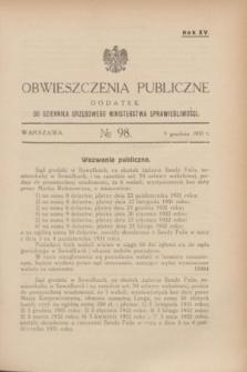 Obwieszczenia Publiczne : dodatek do Dziennika Urzędowego Ministerstwa Sprawiedliwości. R.15, № 98 (9 grudnia 1931)