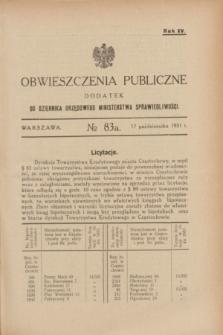 Obwieszczenia Publiczne : dodatek do Dziennika Urzędowego Ministerstwa Sprawiedliwości. R.15, № 83 A (17 października 1931)