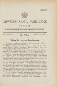 Obwieszczenia Publiczne : dodatek do Dziennika Urzędowego Ministerstwa Sprawiedliwości. R.15, № 92 A (18 listopada 1931)