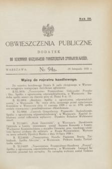 Obwieszczenia Publiczne : dodatek do Dziennika Urzędowego Ministerstwa Sprawiedliwości. R.15, № 94 A (25 listopada 1931)