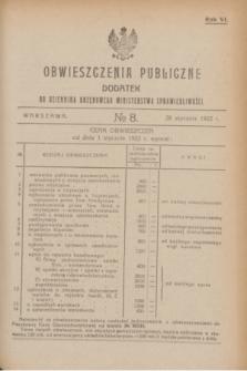 Obwieszczenia Publiczne : dodatek do Dziennika Urzędowego Ministerstwa Sprawiedliwości. R.6, № 8 (28 stycznia 1922)