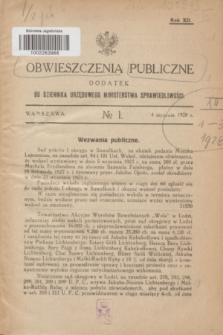 Obwieszczenia Publiczne : dodatek do Dziennika Urzędowego Ministerstwa Sprawiedliwości. R.12, № 1 (4 stycznia 1928)