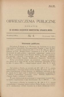 Obwieszczenia Publiczne : dodatek do Dziennika Urzędowego Ministerstwa Sprawiedliwości. R.12, № 4 (14 stycznia 1928)