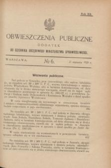 Obwieszczenia Publiczne : dodatek do Dziennika Urzędowego Ministerstwa Sprawiedliwości. R.12, № 6 (21 stycznia 1928)