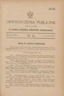 Obwieszczenia Publiczne : dodatek do Dziennika Urzędowego Ministerstwa Sprawiedliwości. R.12, № 2 A (7 stycznia 1928)
