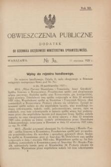 Obwieszczenia Publiczne : dodatek do Dziennika Urzędowego Ministerstwa Sprawiedliwości. R.12, № 3 A (11 stycznia 1928)