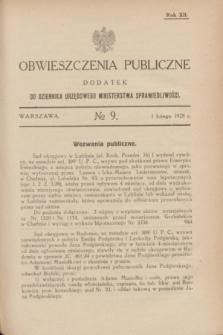 Obwieszczenia Publiczne : dodatek do Dziennika Urzędowego Ministerstwa Sprawiedliwości. R.12, № 9 (1 lutego 1928)