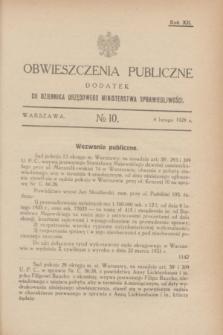 Obwieszczenia Publiczne : dodatek do Dziennika Urzędowego Ministerstwa Sprawiedliwości. R.12, № 10 (4 lutego 1928)