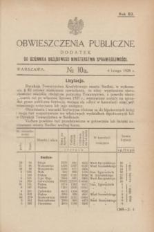 Obwieszczenia Publiczne : dodatek do Dziennika Urzędowego Ministerstwa Sprawiedliwości. R.12, № 10 A (4 lutego 1928)