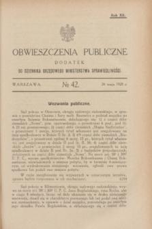 Obwieszczenia Publiczne : dodatek do Dziennika Urzędowego Ministerstwa Sprawiedliwości. R.12, № 42 (26 maja 1928)