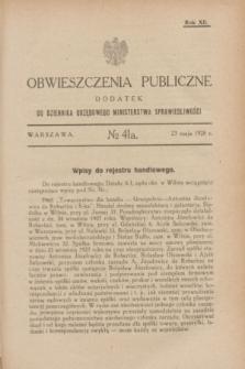 Obwieszczenia Publiczne : dodatek do Dziennika Urzędowego Ministerstwa Sprawiedliwości. R.12, № 41 A (23 maja 1928)