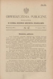 Obwieszczenia Publiczne : dodatek do Dziennika Urzędowego Ministerstwa Sprawiedliwości. R.12, № 47 (13 czerwca 1928)
