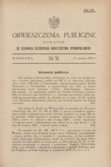 Obwieszczenia Publiczne : dodatek do Dziennika Urzędowego Ministerstwa Sprawiedliwości. R.12, № 51 (27 czerwca 1928)
