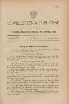 Obwieszczenia Publiczne : dodatek do Dziennika Urzędowego Ministerstwa Sprawiedliwości. R.12, № 50 A (23 czerwca 1928)