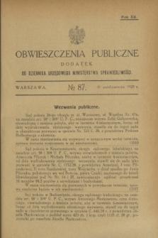 Obwieszczenia Publiczne : dodatek do Dziennika Urzędowego Ministerstwa Sprawiedliwości. R.12, № 87 (31 października 1928)