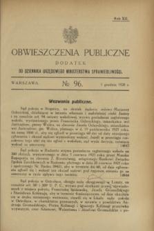 Obwieszczenia Publiczne : dodatek do Dziennika Urzędowego Ministerstwa Sprawiedliwości. R.12, № 96 (1 grudnia 1928)