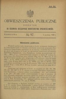Obwieszczenia Publiczne : dodatek do Dziennika Urzędowego Ministerstwa Sprawiedliwości. R.12, № 97 (5 grudnia 1928)