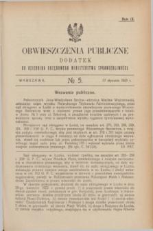 Obwieszczenia Publiczne : dodatek do Dziennika Urzędowego Ministerstwa Sprawiedliwości. R.9, № 5 (17 stycznia 1925)