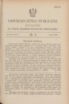 Obwieszczenia Publiczne : dodatek do Dziennika Urzędowego Ministerstwa Sprawiedliwości. R.9, № 11 (7 lutego 1925)